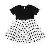 Livoral Mädchen Prinzessin Kleid Kinder Retro Kleid Polka Dot Prinzessin Swing Land Rock Party Kleid(Weiß,X-Large)