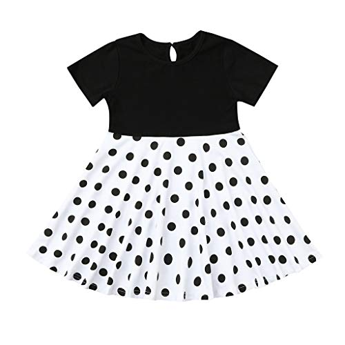 Livoral Mädchen Prinzessin Kleid Kinder Retro Kleid Polka Dot Prinzessin Swing Land Rock Party Kleid(Weiß,Small)