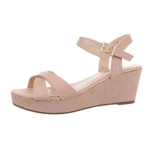 Ital-Design Damenschuhe Sandalen & Sandaletten Keilsandaletten Synthetik Altrosa Gr. 41 3 Strap Sandalen