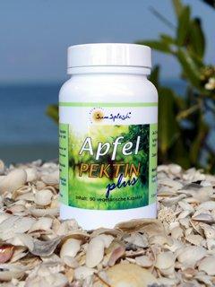 SunSplash Apfelpektin plus 90 vegetrische Kapseln.Natürliches Apfelpektin und Inulin, fördert gute Baktereinkulturen im Darm. Von Ärzten empfohlen.3 x 1 Kapseln täglich
