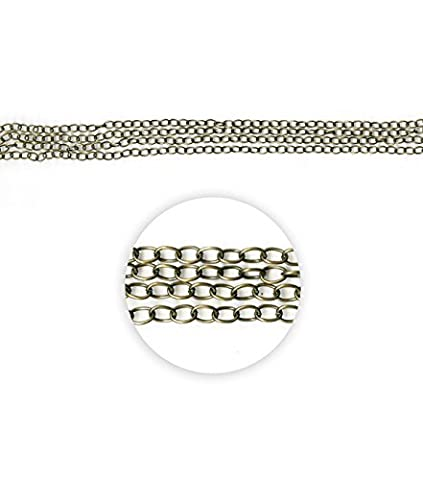 Blue Moon Beads ZG-001-20654 Metal Chain with Oval Cable, 100-inches, Oxidized Brass