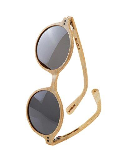 WOLA Damen Sonnenbrille Holz HELIO Brille rund - klassischer Stil polarisiert UV400 Holzbrille Bambus Frauen