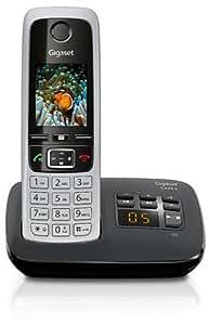 Gigaset C430A Telefon, Schnurlostelefon / Mobilteil, TFT-Farbdisplay, Dect-Telefon, mit Anrufbeantworter, Freisprechfunktion, Analog Telefon, schwarz