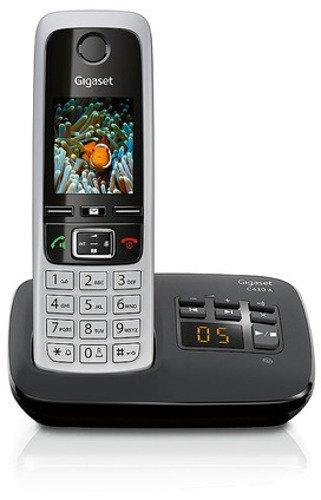 Gigaset C430A Schnurloses Telefon mit Anrufbeantworter (DECT Telefon mit Freisprechfunktion, klassisches Mobilteil mit TFT-Farbdisplay) schwarz-silber (Telefon Mit Mehreren Mobilteilen)