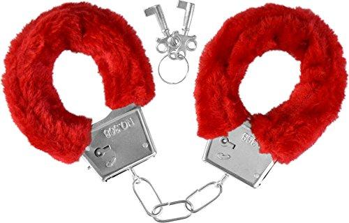 GearUp Handschellen mit Plüschpolster Farbe Rot