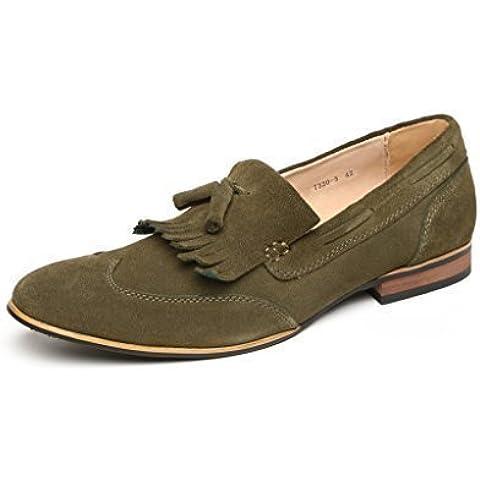 Cuero Hombre Ante Zapatos De Diseño Sin Cordones Casual Mocasines Con Borlas Punta De Ala UK Size