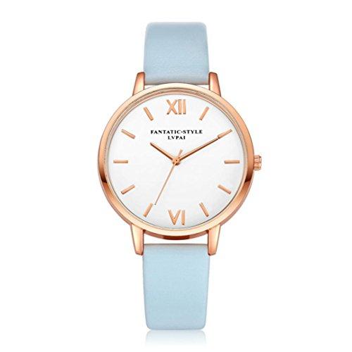 Relojes Mujer,Xinan Reloj de Pulsera Reloj Redondo Cuero Imitación (Azul Claro)