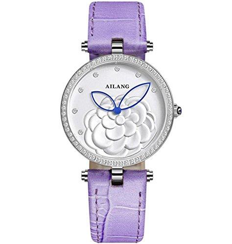 Damen Lederband Uhr Zifferblatt Diamanten Ultra dünne Blumen , 4 - Face Uhr Dual Damen