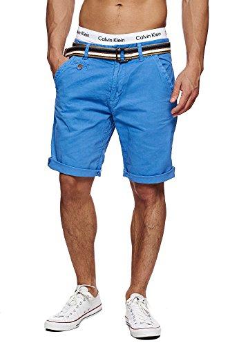 INDICODE Herren Cuba Shorts Bermuda kurze Hose inkl. Gürtel Blau Palace Blue M (Von Bermuda-shorts Das Tragen)