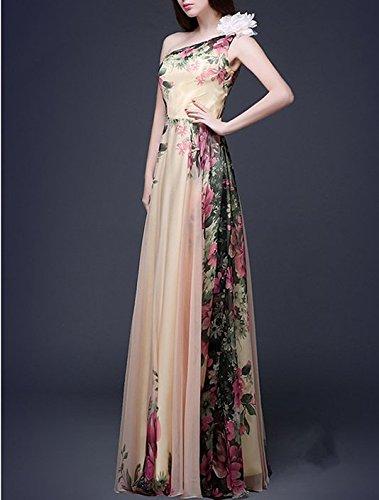 Bigood Robe de Soirée Femme Robes Longue Fleurs Imprimé Mariage Cérémonie Cocktail Une Epaule Multicolore