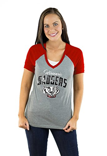 Gameday Couture NCAA Damen Raglan-T-Shirt mit V-Ausschnitt, Damen, Short Sleeve V Neck Raglan, rot, X-Large - Dachs Womens T-shirt