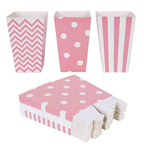 QIMEI-SHOP Popcorn-Boxen 36 Stück Popcorn Tüten Pappe Candy Container für Party Snacks Süßigkeiten Popcorn und Geschenke 12*7 cm (Kleine Popcorn-boxen)