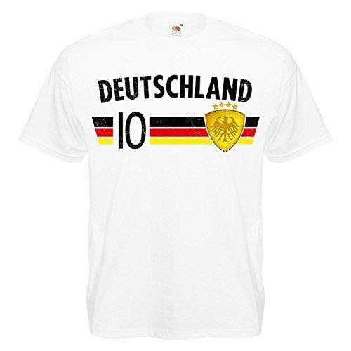 Fußball WM T-Shirt Fan Artikel Nummer 10 - Weltmeisterschaft 2018 - Länder Trikot Jersey Herren Damen Kinder Deutschland Germany Weiß XXL