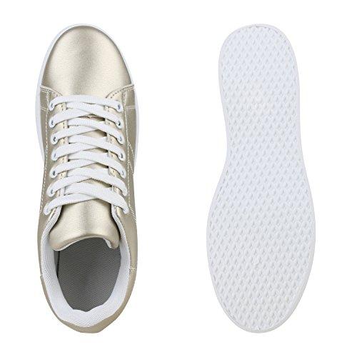 Sportliche Damen Sneakers   Sneaker Low Metallic Lack   Turnschuhe Muster Glitzer   Retro Flats Schnürer   Animalprints Veloursleder-Optik Gold