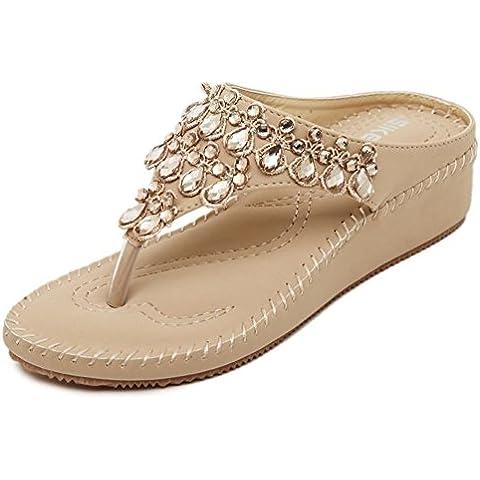 Moda casual e confortevole spiaggia pantofole/ cool sandali/ pizzico infradito/ scarpe piattaforma strass