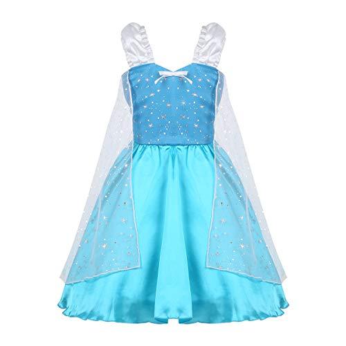 dPois Mädchen Prinzessin Kleid Festlich Kleid Festzug Schneeflocke Kostüm Partykleid Kostüm für Karneval Cosplay Party Kinderkostüm Blau 122-128/7-8 Jahre