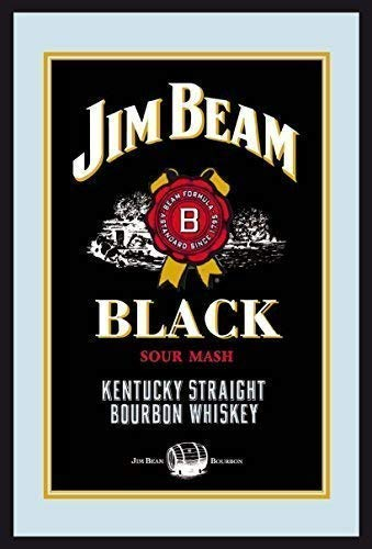 Jim Beam Bourbon Whiskey Label Logo black Nostalgie Barspiegel Spiegel Bar Mirror 22 x 32 cm -