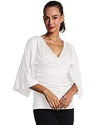 TYERY V-Cuello Profundo Pliegues De La Manga De La Camiseta De Loto,blanco,M