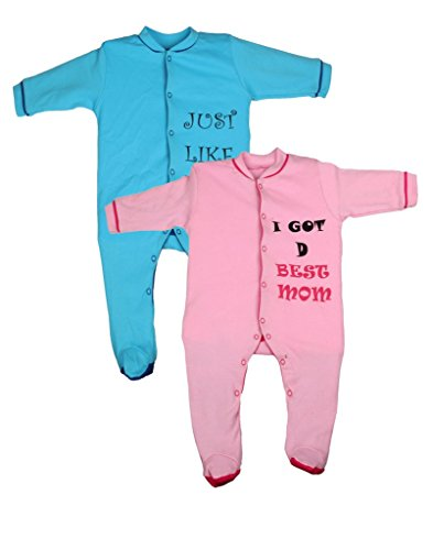 Gkidz Infants Sleep Suit Pack of 2 (INF-2PCK-SLPSUT-PINK-TURQ-6-12M_ Multicolor_ Pink_6-12 Month)