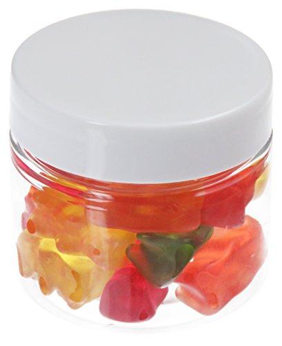 Pot de PET 50 ml transparent, avec couvercle en plastique, blanc, 10 pièces