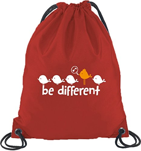 Shirtstreet24, Be Different, Turnbeutel Rucksack Sport Beutel Rot