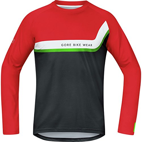 GORE BIKE WEAR, Maillot MTB, Hombre, Mangas largas, GORE Selected Fabrics, POWER TRAIL Jersey Long, Talla XL, Rojo/Negro, SPOWLE