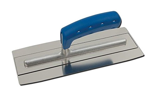 TREBI Doppelblatt Edelstahl-Glättekelle Softgriff blau 280 x 110 mm - Doubleflex - Profi Qualität - Made in Germany