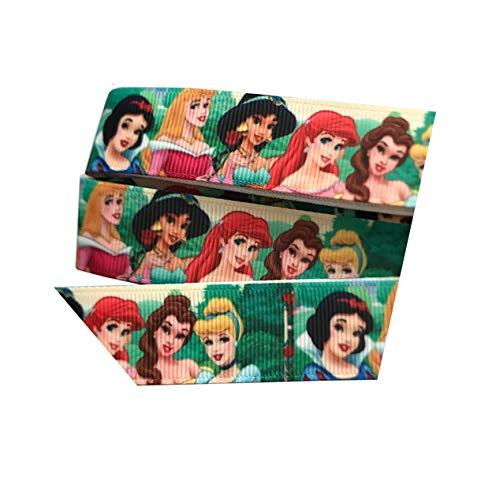 Alle die Disney Prinzessinnen inkl. Elsa Anna Snow White Belle Cinderella Ripsband 2m x 22mm für Geburtstagstorten, Geschenkpapier Band Haar Bögen (Disney Prinzessin Bögen)