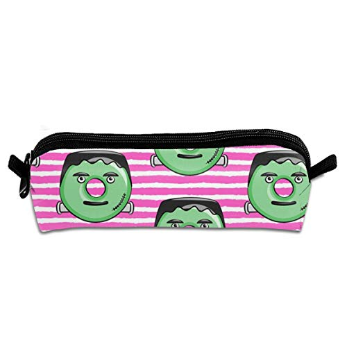 On Pink Stripes Halloween Student Polyester Double Zipper Pen Box Boys Girls Pencil Case Cosmetic Makeup Bag Pouch Stationery Office School Supplies 21 X 5.5 X 5 cm ()