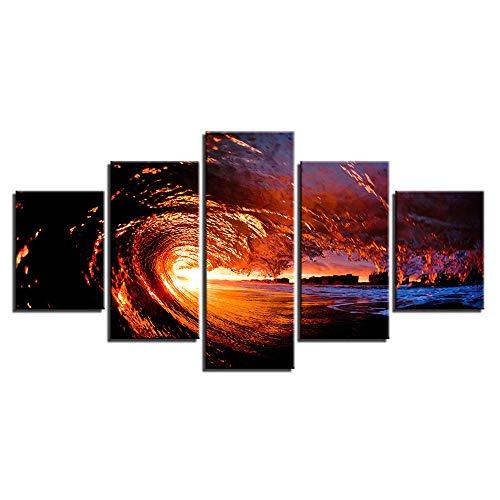 Moderne dekorative malerei Hause Sofa Wand Wohnzimmer HD Kunst Painting,Seascape Dämmerungslandschaft 12 Malerkern 30x40cmx2 30x60cmx2 30x80cmx1