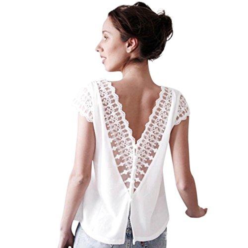 Damen Tops SUCES Frauen Sexy Spitze Basic Kurzarm Sommerhemd Blusen Patchwork Oberteil O-Ausschnitt...