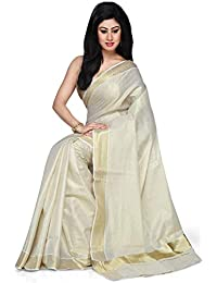 f4fe39169b52e5 R SELVAMANI TEX Women's Cotton Kerala Kasavu Golden Tissue Saree with  Running Blouse (Tis-