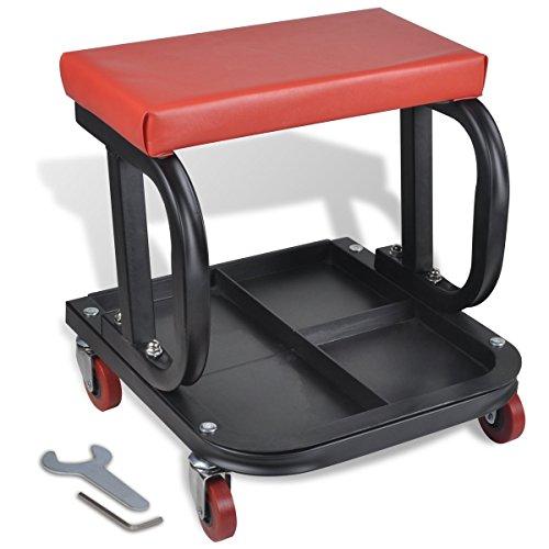 vidaXL Werkstatthocker Werkstattsitz Rollwagen mit Werkzeugablage