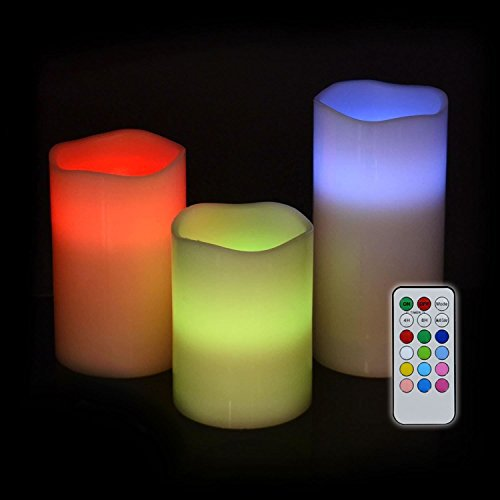 New Remote Control colour changing Wax Candles Scented LED Flameless shopmonk (Vanilla) by zizzi
