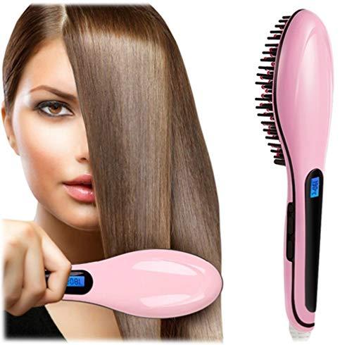 Buyerzone Fast Hair Straightener Brush For Women (Pink)