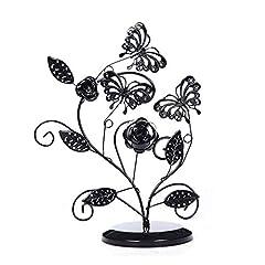 Idea Regalo - Nuobaby Porta gioielli Creativo principessa orecchini cornice gioielli farfalla albero della fortuna decorazione ripiano pendente collana espositore