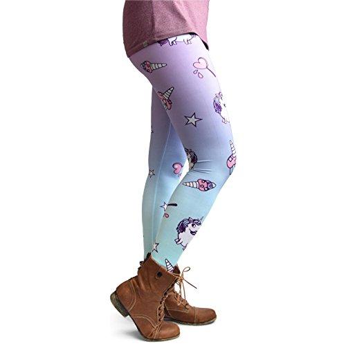 (cosey - Bedruckte Bunte Leggins (Einheitsgröße) - Leggings Design Einhörner und Süßigkeiten)