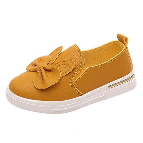 Alwayswin Sneakers Mädchen Bowknot Prinzessin Flache Einzelne Schuhe Freizeitschuhe Sommer Baotou Slip-On Studentenschuhe Süß Mode Müßiggänger Leder Bequem Weich Faule Schuhe