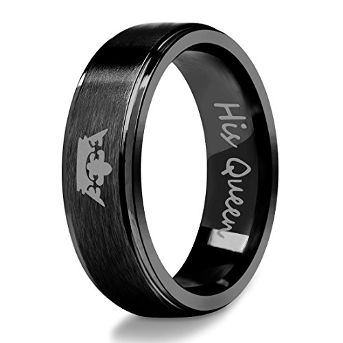 Edelstahl Ring für Paare His Queen Gravierte Crown Band Black Wedding Party Schmuck (Paare Ringe Graviert)