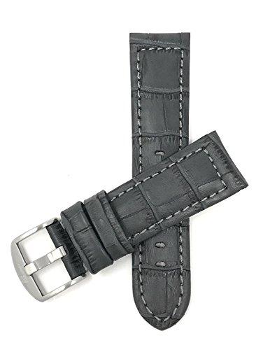 Bandini 22mm Grau Herren Leder Uhrenarmband, Alligatormuster