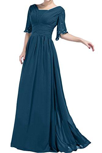 Ivydressing Damen A-Linie Lang Abendkleider Chiffon Mit Aermeln Promkleid Ballkleider Blaugruen