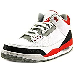 Nike Air Jordan 3 Retro para hombre Trainers 136064 120 zapatillas zapatos de baloncesto jumpman23, color blanco, talla 31 EU