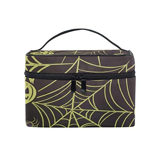 Tragbare hängende Make-up Kosmetiktasche Tasche,Travel Cosmetic Bag Halloween Pumpkin Spider Web Toiletry Makeup Bag Pouch Tote Case Organizer Storage for Women Girls