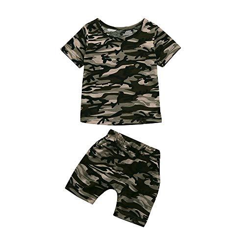 kleidung,Kinder Bekleidungsset,Kleinkind Kinder Baby Jungen Camouflage T Shirt Tops + Shorts Outfits Kleidung Set,Frühlings und Sommeranzug,Zweiteiliges Set ()