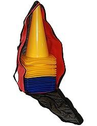 lot de 20 cônes de l'équitation, hauteur: 30 cm, couleurs: 10x jaune, 10x bleu; contient également: un sac pratique - 10x MK30y 10x MK30b