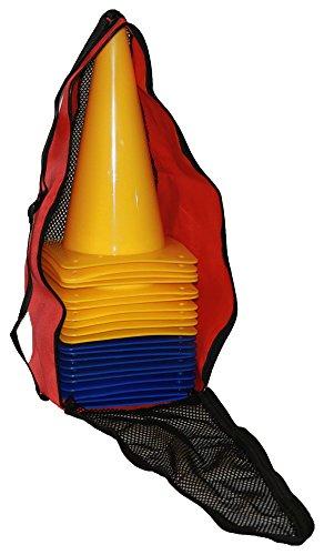 Pferdesport-Pylonen, 30 cm, 20 Stück (10x gelb, 10x blau) mit Tragetasche
