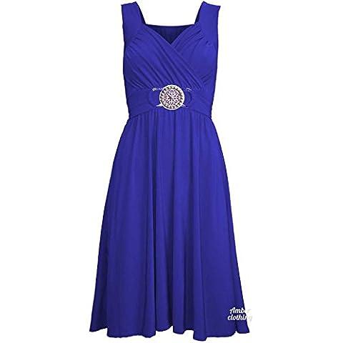 Ladies Womens Sleeveless Silver Badge Belt Buckle Tie Back Fashion Midi Dress (M-L (UK 12-14),