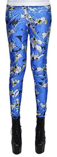 erdbeerloft - Damen Mädchen Leggins Leggings Batman Comic Print, One Size S-M-L, Mehrfarbig