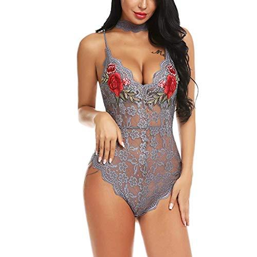 TMOTYE Damen Sexy Frauen Spitzen Tiefer V-Ausschnitt Bodysuit Teddy Dessous Overall Stickerei mit Kragen Fashion Lace Nachtwäsche Versuchung Babydol (Grau,S) -