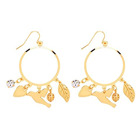 Front Row Gold Colour Multi Charm Hoop Earrings